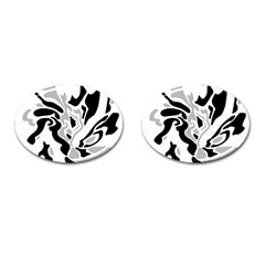 Gray, black and white decor Cufflinks (Oval)