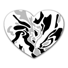 Gray, black and white decor Heart Mousepads