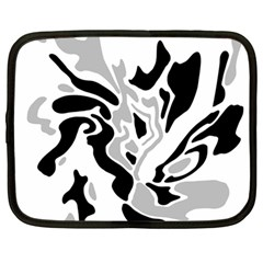 Gray, black and white decor Netbook Case (Large)