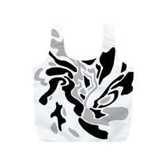 Gray, black and white decor Full Print Recycle Bags (S)