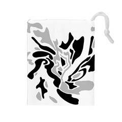 Gray, black and white decor Drawstring Pouches (Large)