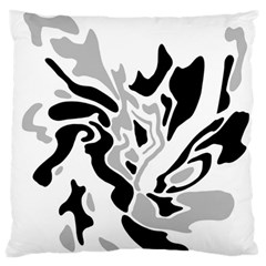 Gray, black and white decor Large Flano Cushion Case (One Side)