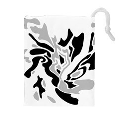 Gray, black and white decor Drawstring Pouches (Extra Large)