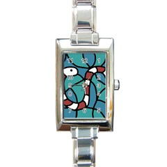 Red snake Rectangle Italian Charm Watch