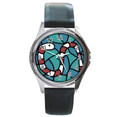 Red snake Round Metal Watch