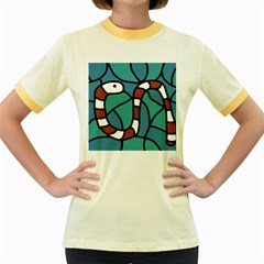 Red snake Women s Fitted Ringer T-Shirts