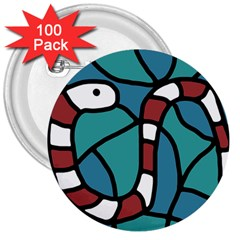 Red snake 3  Buttons (100 pack)