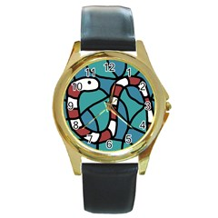 Red snake Round Gold Metal Watch