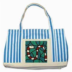 Red snake Striped Blue Tote Bag