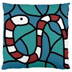 Red snake Large Cushion Case (Two Sides)