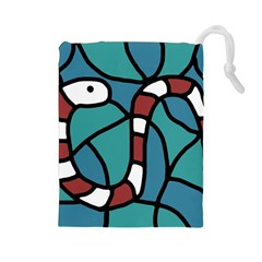 Red snake Drawstring Pouches (Large)