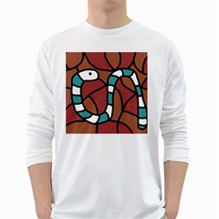 Blue snake White Long Sleeve T-Shirts