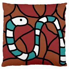Blue snake Large Flano Cushion Case (One Side)