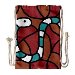 Blue snake Drawstring Bag (Large)