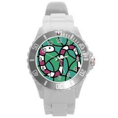 Purple snake  Round Plastic Sport Watch (L)
