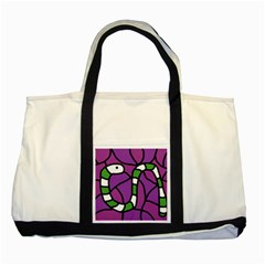 Green snake Two Tone Tote Bag