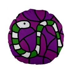 Green snake Standard 15  Premium Flano Round Cushions