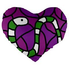 Green snake Large 19  Premium Flano Heart Shape Cushions