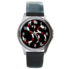Red snakes Round Metal Watch