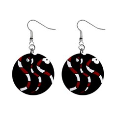 Red snakes Mini Button Earrings