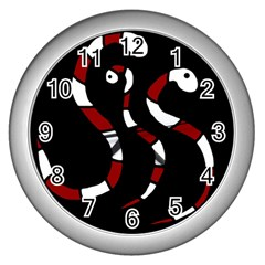 Red snakes Wall Clocks (Silver)