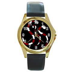 Red snakes Round Gold Metal Watch