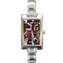 Red black and white abstract high art Rectangle Italian Charm Watch