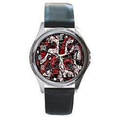 Red black and white abstract high art Round Metal Watch