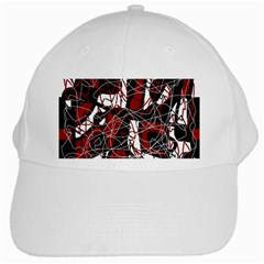 Red black and white abstract high art White Cap