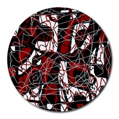 Red black and white abstract high art Round Mousepads