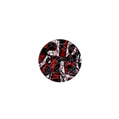 Red black and white abstract high art 1  Mini Buttons