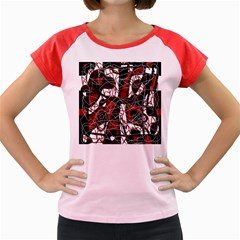 Red black and white abstract high art Women s Cap Sleeve T-Shirt