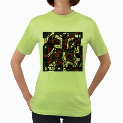 Red black and white abstract high art Women s Green T-Shirt