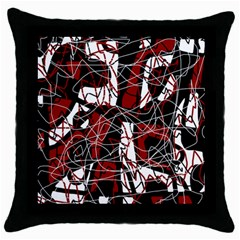 Red black and white abstract high art Throw Pillow Case (Black)