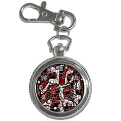 Red black and white abstract high art Key Chain Watches