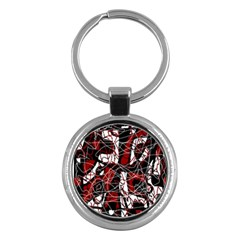 Red black and white abstract high art Key Chains (Round)