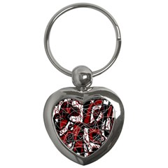 Red black and white abstract high art Key Chains (Heart)