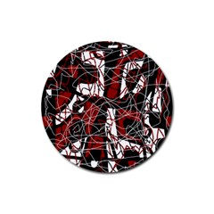 Red black and white abstract high art Rubber Round Coaster (4 pack)