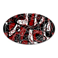 Red black and white abstract high art Oval Magnet