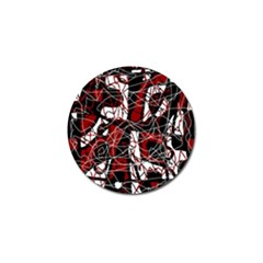 Red black and white abstract high art Golf Ball Marker