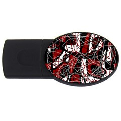 Red black and white abstract high art USB Flash Drive Oval (1 GB)