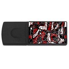 Red black and white abstract high art USB Flash Drive Rectangular (1 GB)