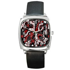 Red black and white abstract high art Square Metal Watch