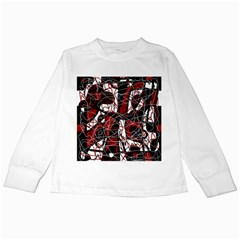 Red black and white abstract high art Kids Long Sleeve T-Shirts
