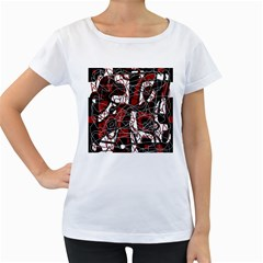 Red black and white abstract high art Women s Loose-Fit T-Shirt (White)