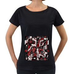 Red black and white abstract high art Women s Loose-Fit T-Shirt (Black)