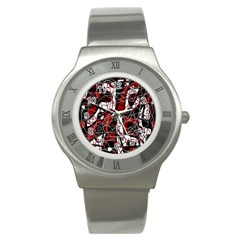 Red black and white abstract high art Stainless Steel Watch