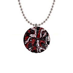 Red black and white abstract high art Button Necklaces