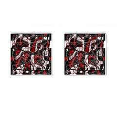 Red black and white abstract high art Cufflinks (Square)