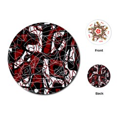 Red black and white abstract high art Playing Cards (Round)